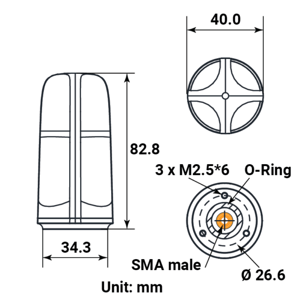 Helical triple band GNSS RTK antenna dimensions